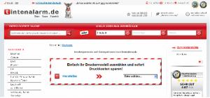Ein Ausschnitt der Website Tintenalarm.de.